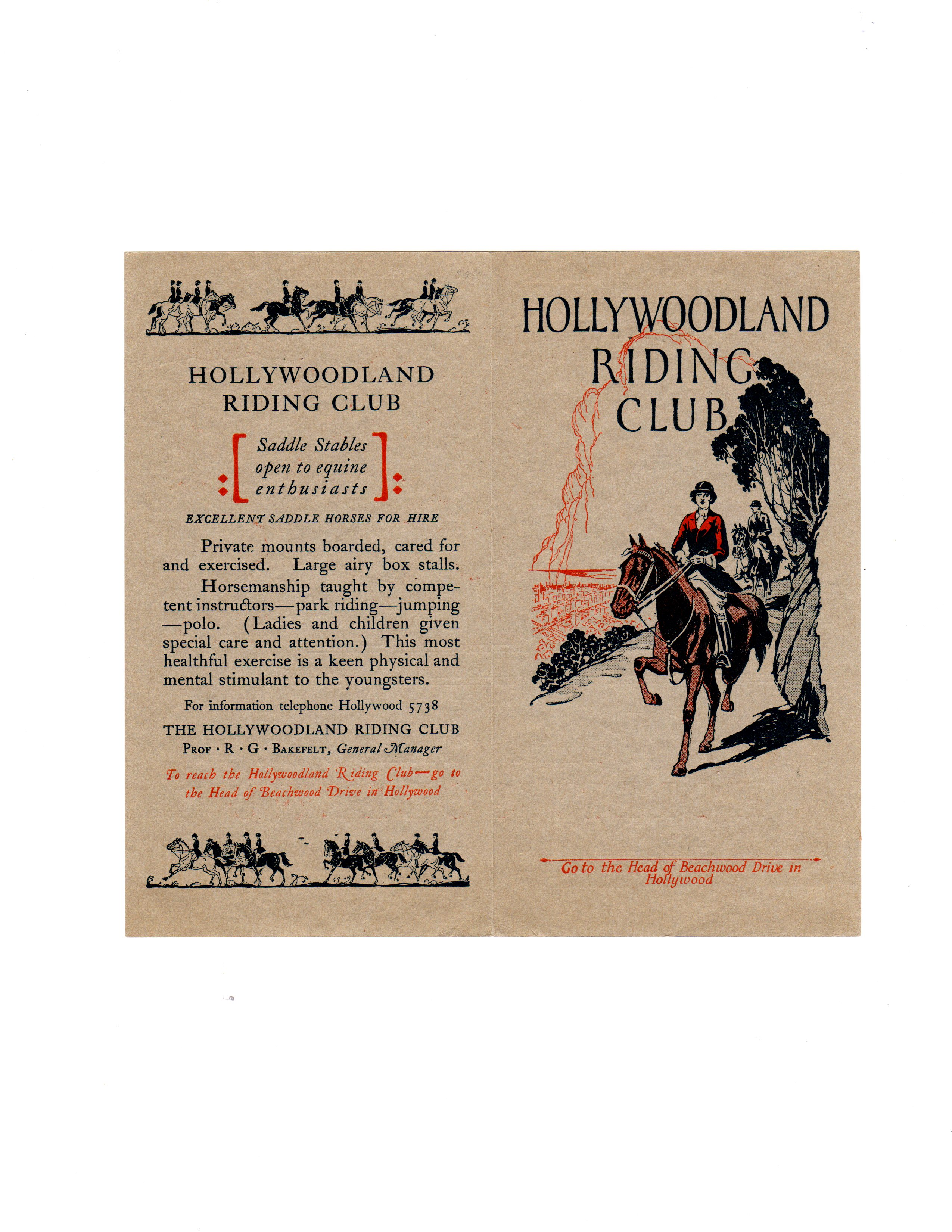 The Front and Back Covers of a Hollywoodland Riding Club pamphlet, circa 1923/All Photos Hope Anderson Productions