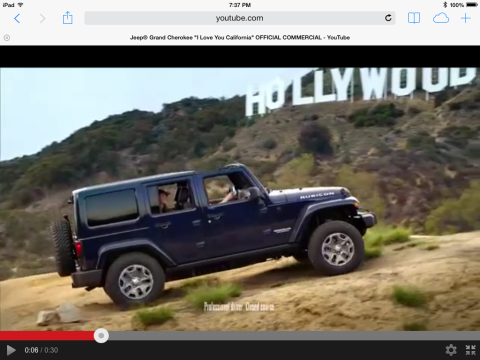 "Frame from Jeep Cherokee's ""I Love You California Ad/Courtesy YouTube"