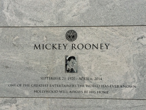 Mickey Rooney's Headstone at the Mausoleum