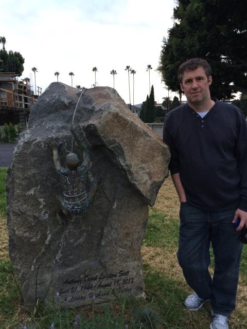 Heath Woodward at Tony Scott's grave